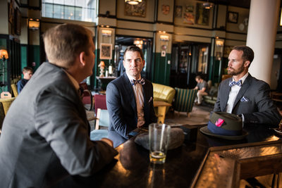 Groom and Groomsmen Hang Out at Ace Hotel Bar