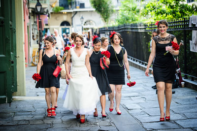 The Girls Walk to Wedding Ceremony in Jackson Square