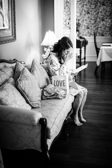 Bride Cries While Reading Letter from Groom