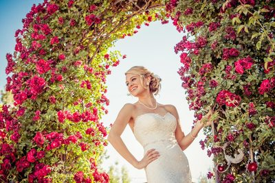 Phoenix Wedding Photographer - Bride in Flower Trellis
