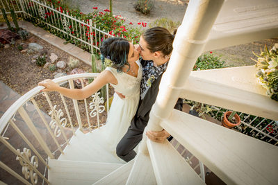 Janel and Islam's Phoenix Wedding - Couple on Staircase