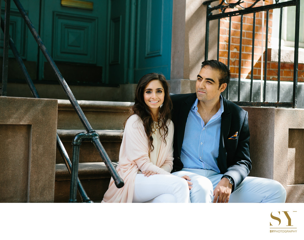 NYC engagement photo classic townhouse SoHo
