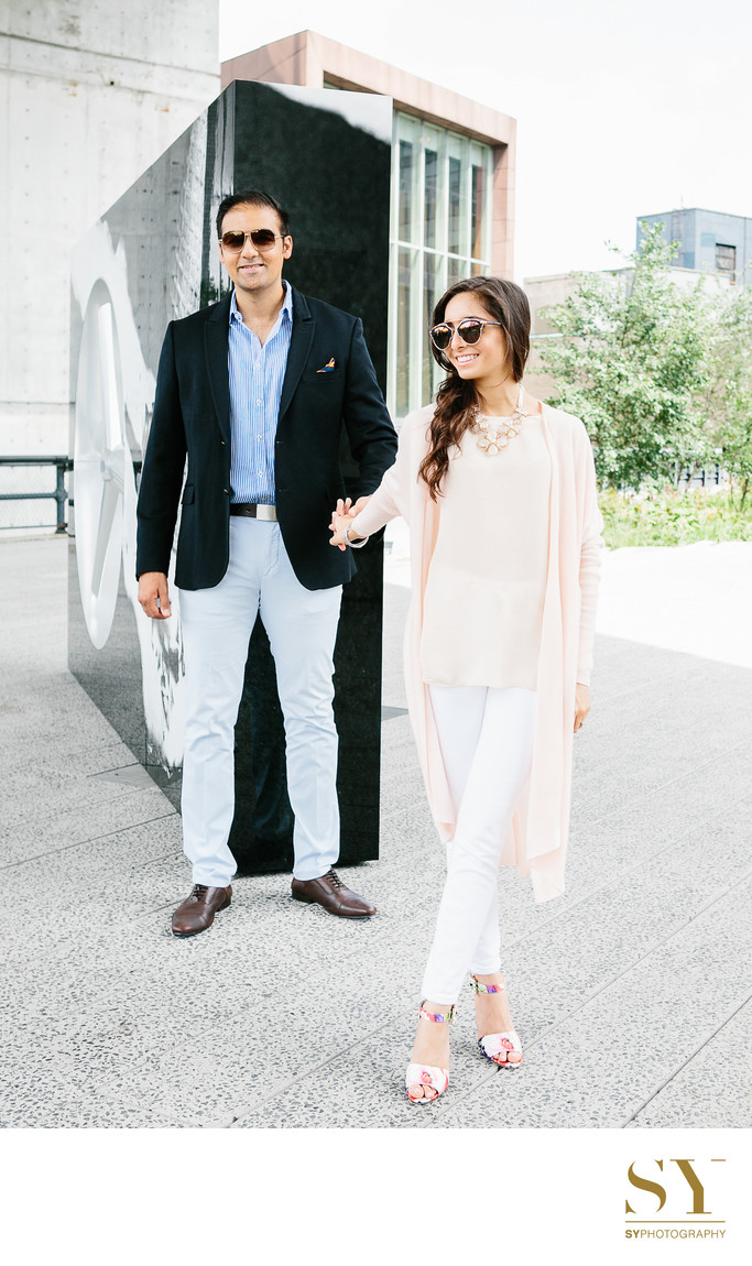 fashion inspired engagement photo idea Highline Park