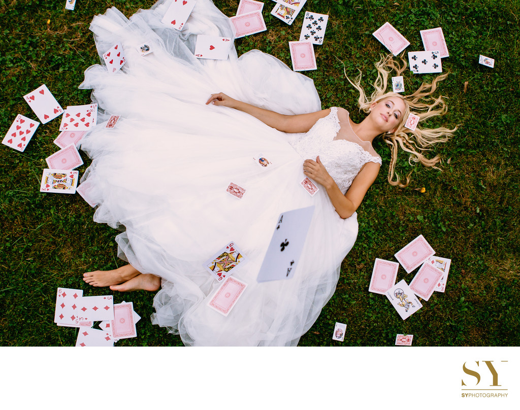 Alice in wonderland inspired bridal photo