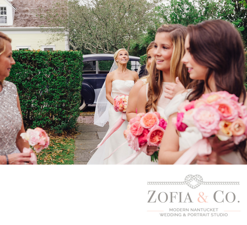 bride before sconset chapel wedding pink flowers