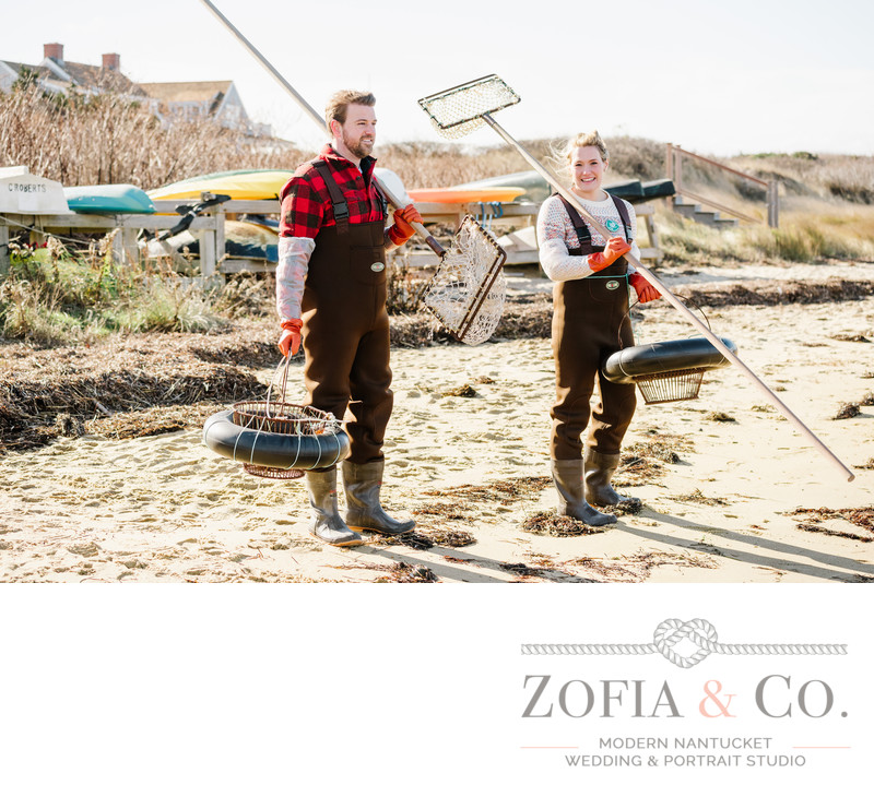 nantucket engagement scalloping monomoy beach