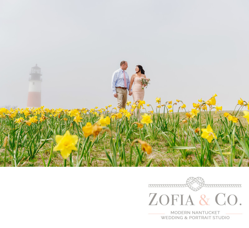 married couple in daffodils at Sankaty Lighthouse