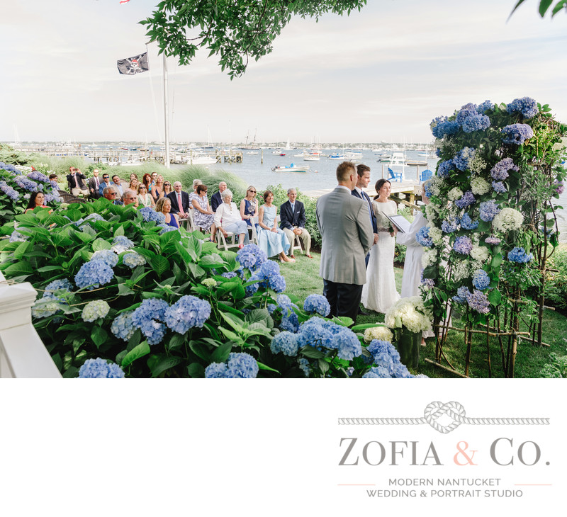 blue hydrangea garden on nantucket harbor wedding ceremony