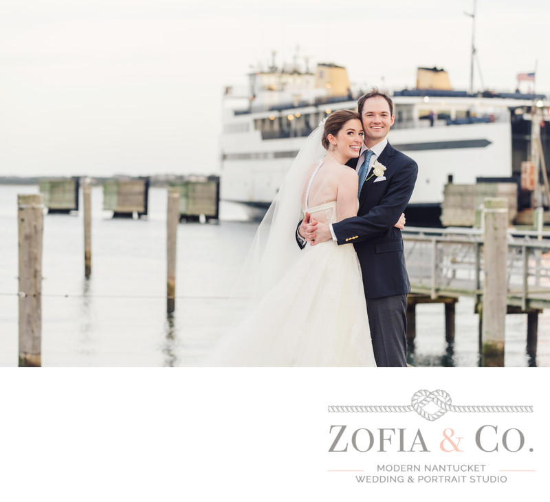 steamship ferry behind nantucket wedding couple at yacht club