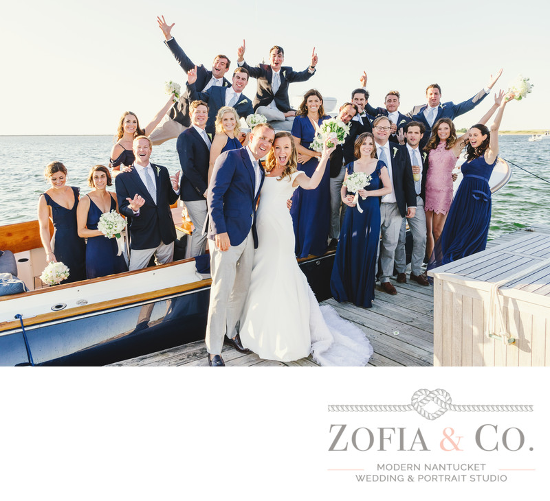 nantucket bridal party in navy on water at wauwinet