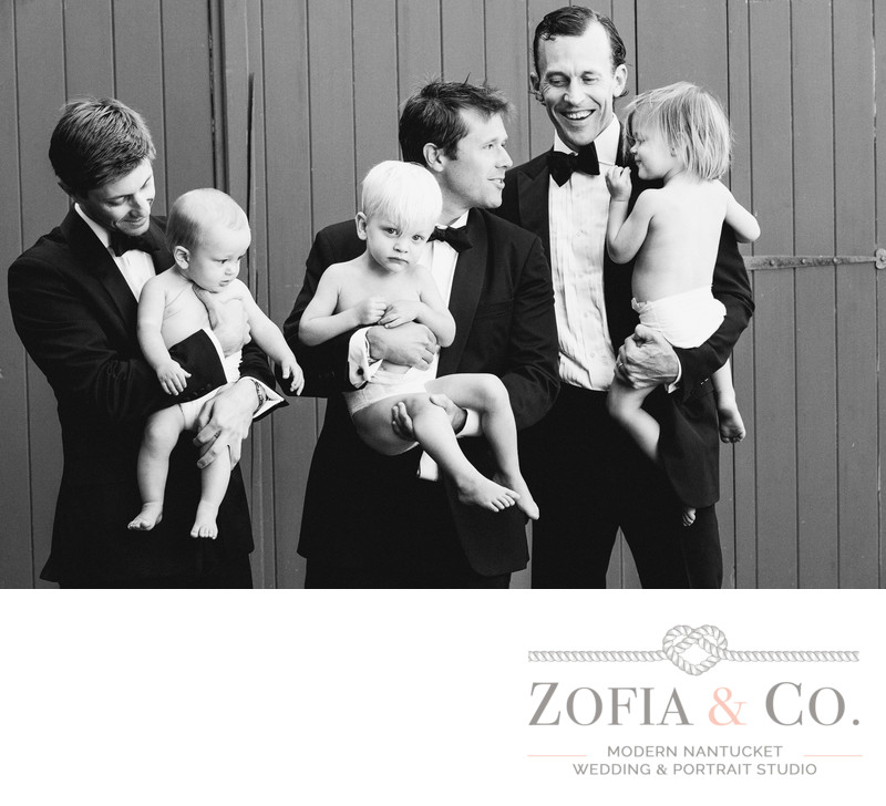 Nantucket groomsmen with baby ring bearers