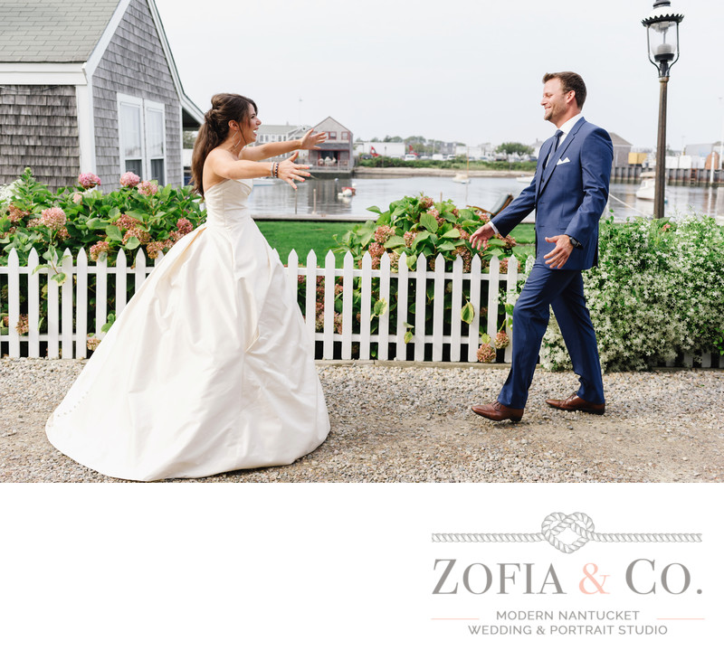 wedding first look nantucket harbor