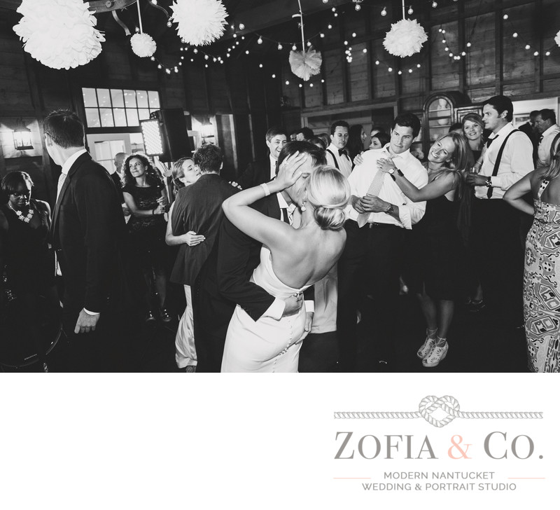 newlyweds kiss on dancefloor at