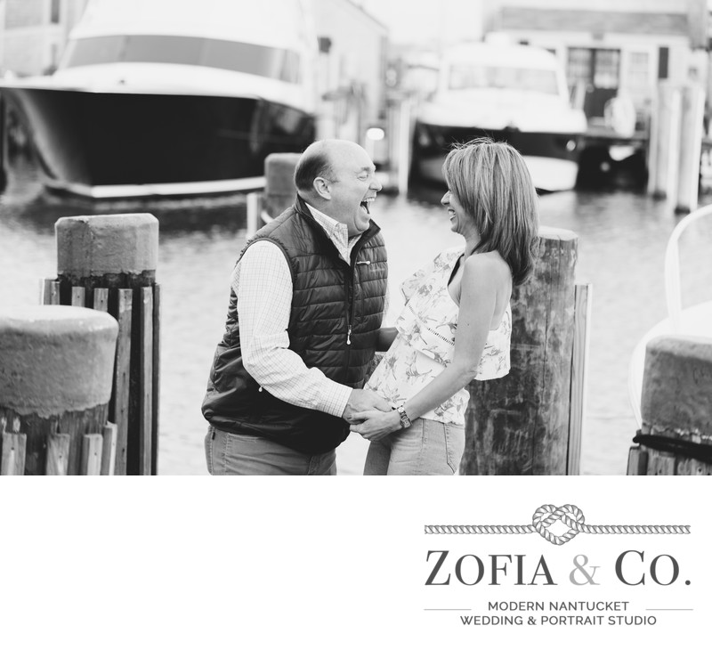 engagement session in black and white nantucket boat basin