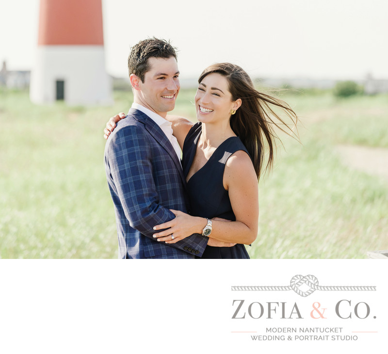 windy nantucket engagement at sankaty