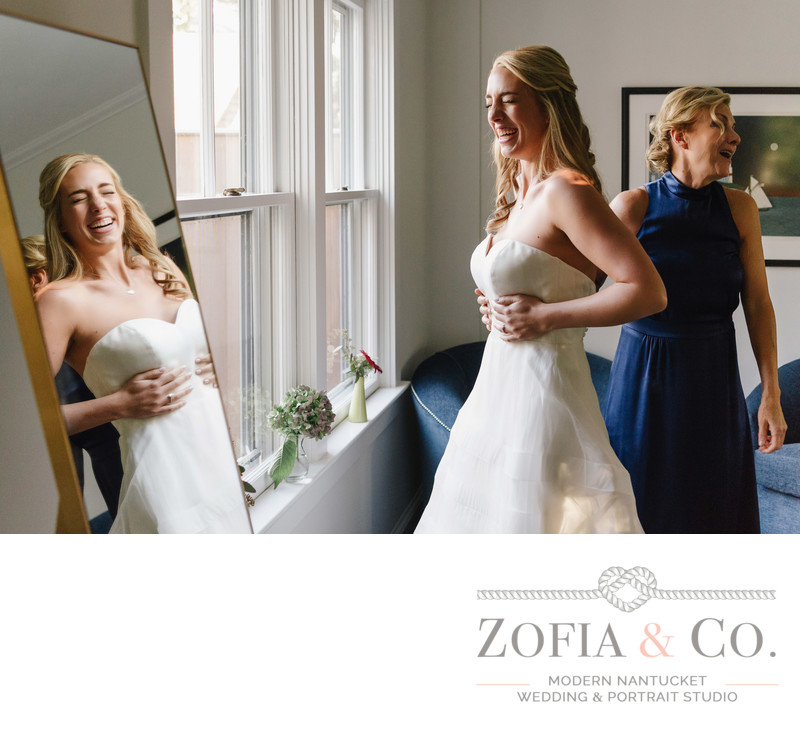 Kelly Faetanini bridal gown laughing with mother