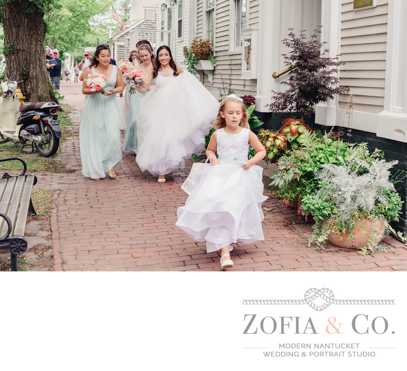 flower girl and bride downtown nantucket street