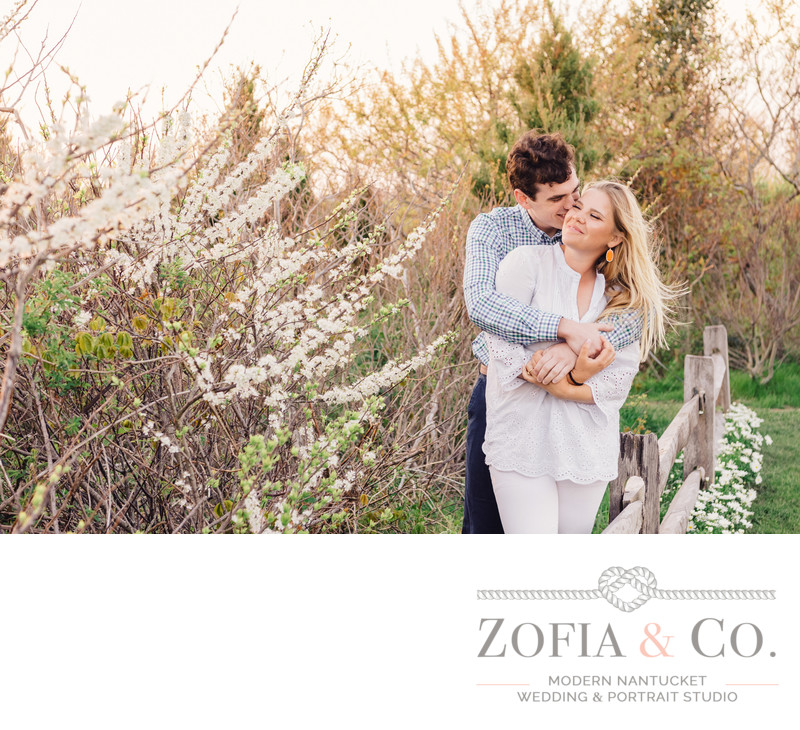 sweet moment during nantucket engagement session