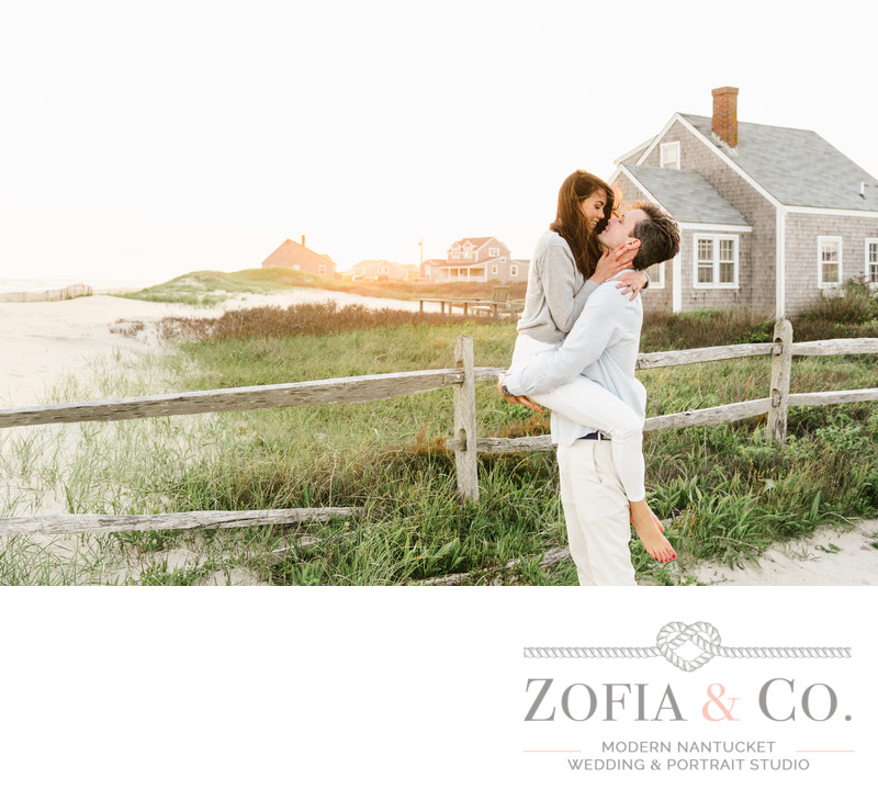 engaged couple in love on madaket beach in nantucket