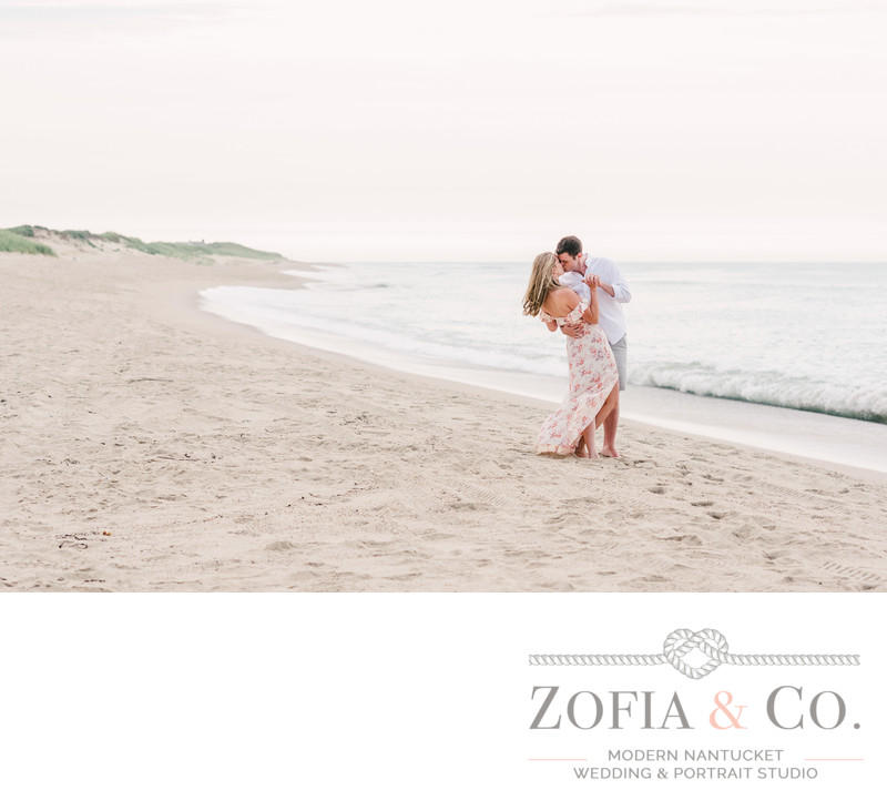 romantic beach photos nantucket engagement