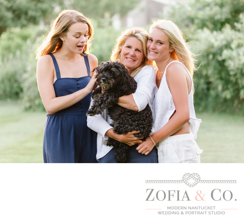 nantucket family photography with dog