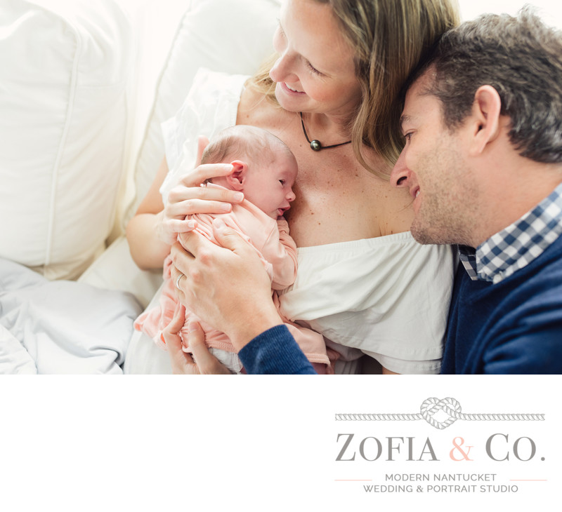 nantucket newborn baby girl with parents
