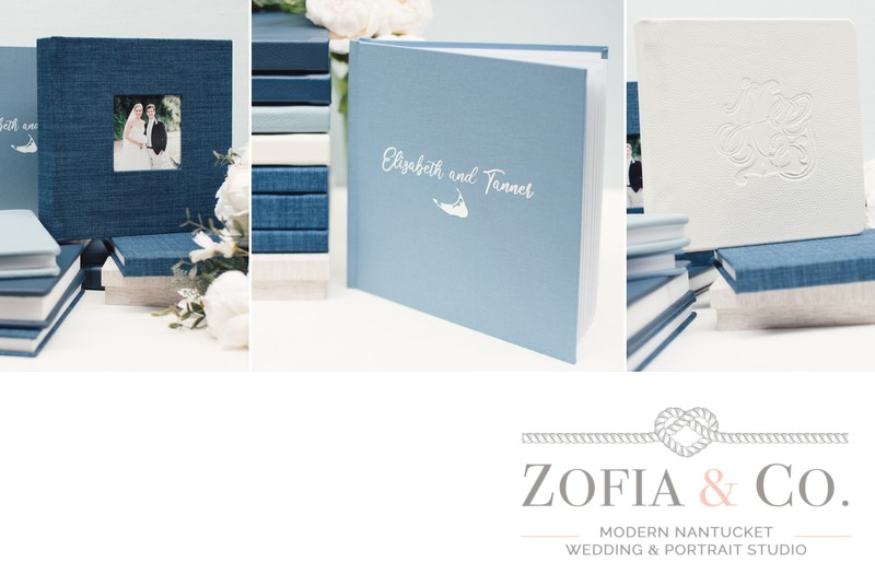 Blue linen and leather Nantucket wedding albums