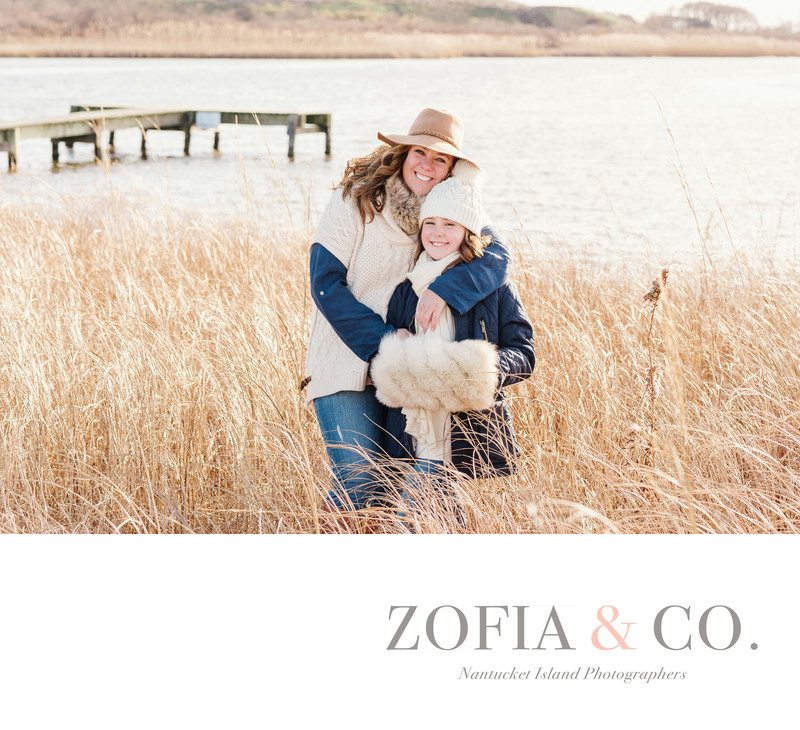 Mother daughter Nantucket portrait in Madaket