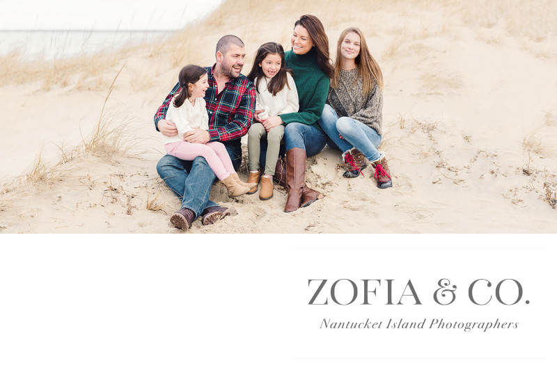 Zofia and Mark Crosby with their daughters on the beach