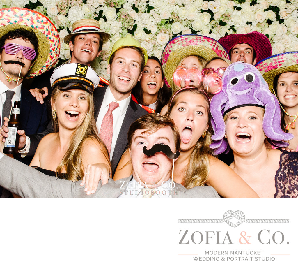 big group in a photo booth