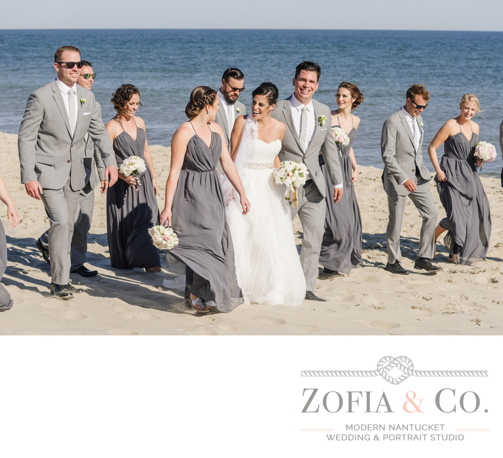 grey bridesmaids and groomsmen nantucket beach wedding