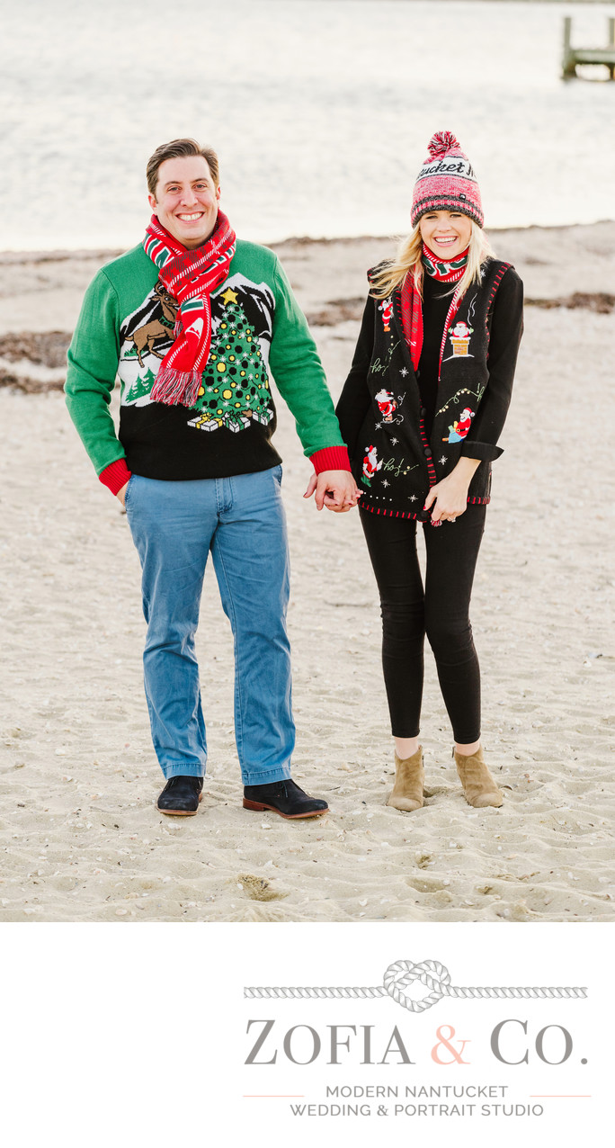 Nantucket Stroll engagement session fun sweaters