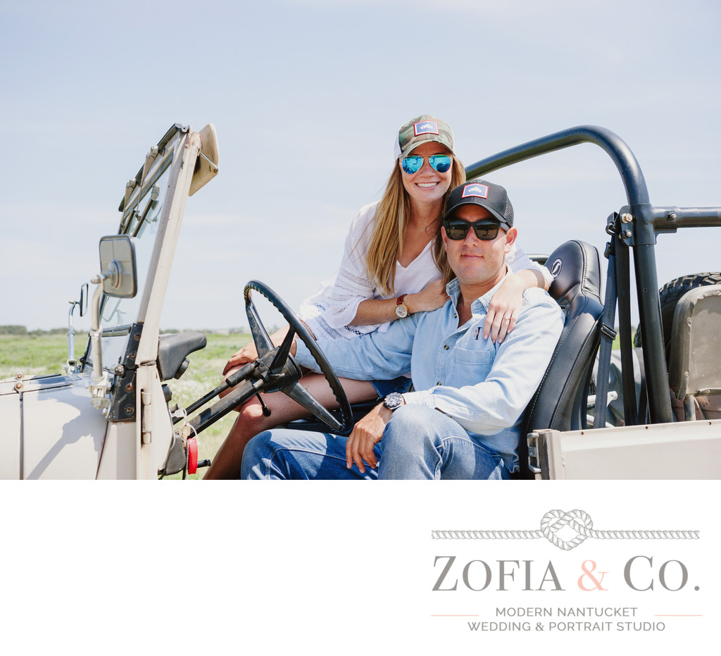 Nantucket photography engagement on a Jeep