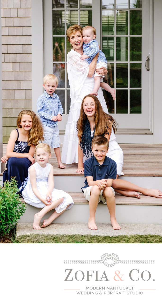happy family portrait at home in nantucket