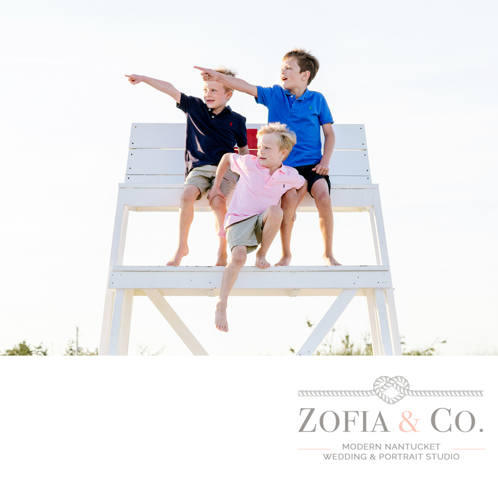 nantucket boys on lifeguard stand at miacomet beach