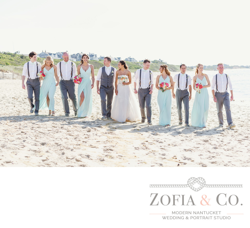 nautical beach wedding party with suspenders