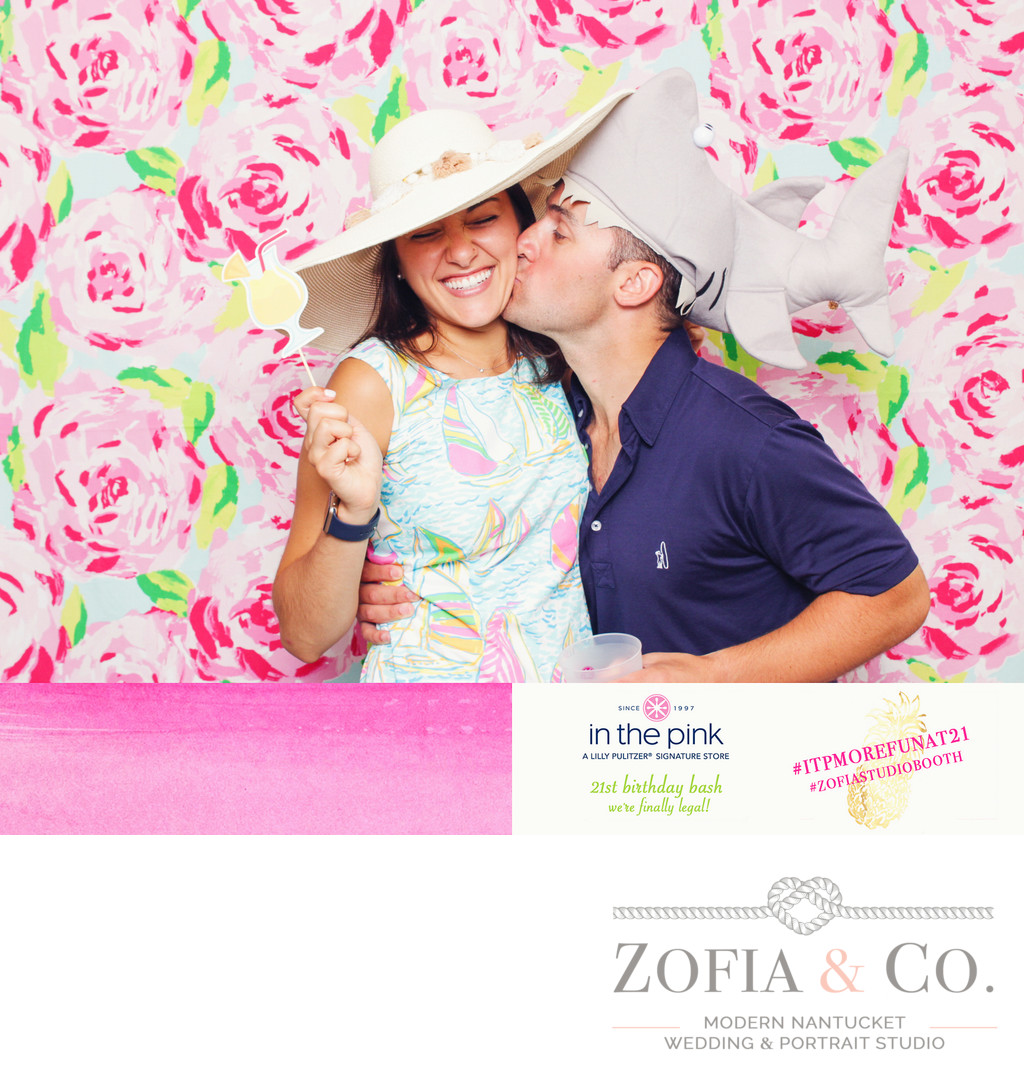 lilly pulitzer backdrop for a party photobooth