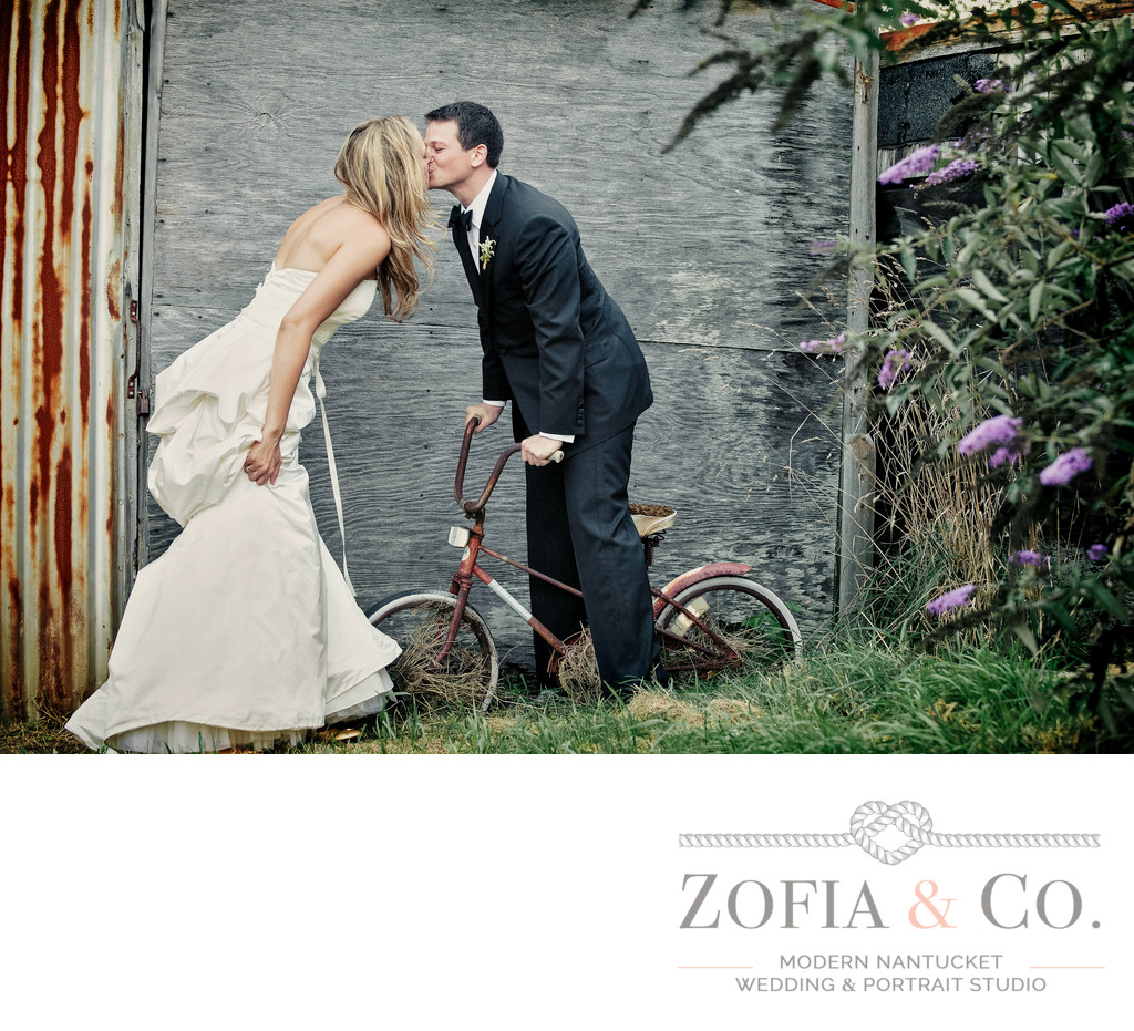 Nantucket Wedding Couple on bike