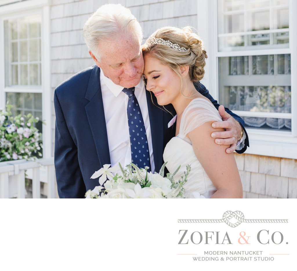 father's first look at his daughter in her gown at their nantucket home backyard wedding