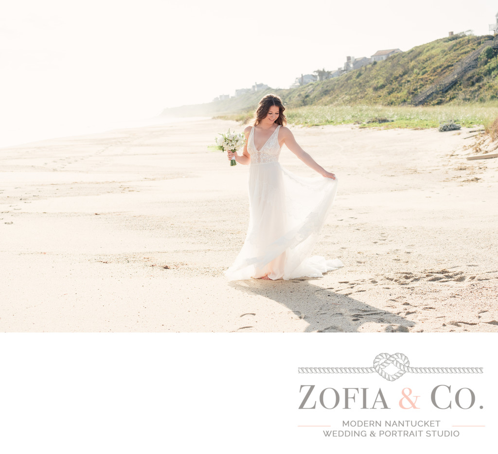 beach bride in white on nantucket beach in tom nevers