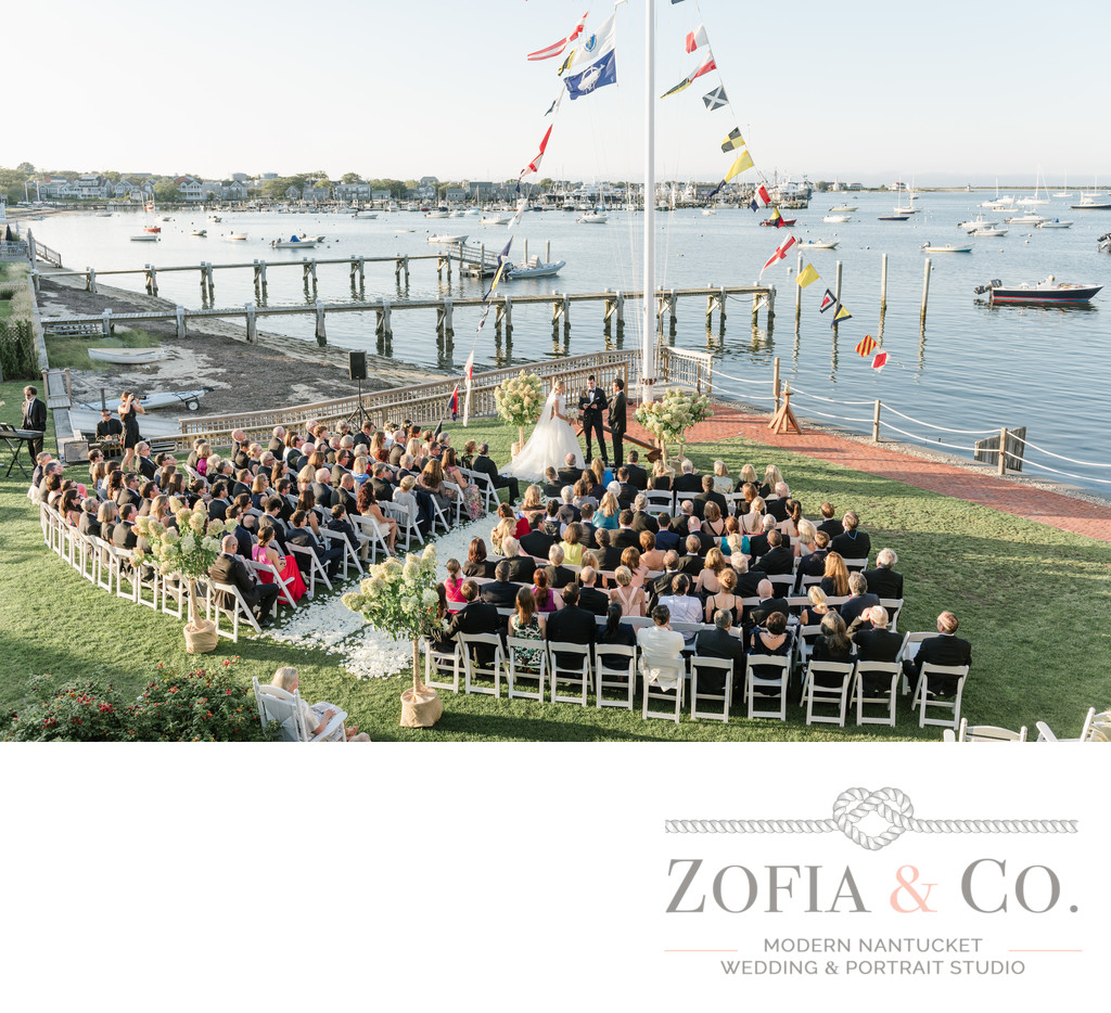 great harbor nantucket wedding ceremony aerial photography