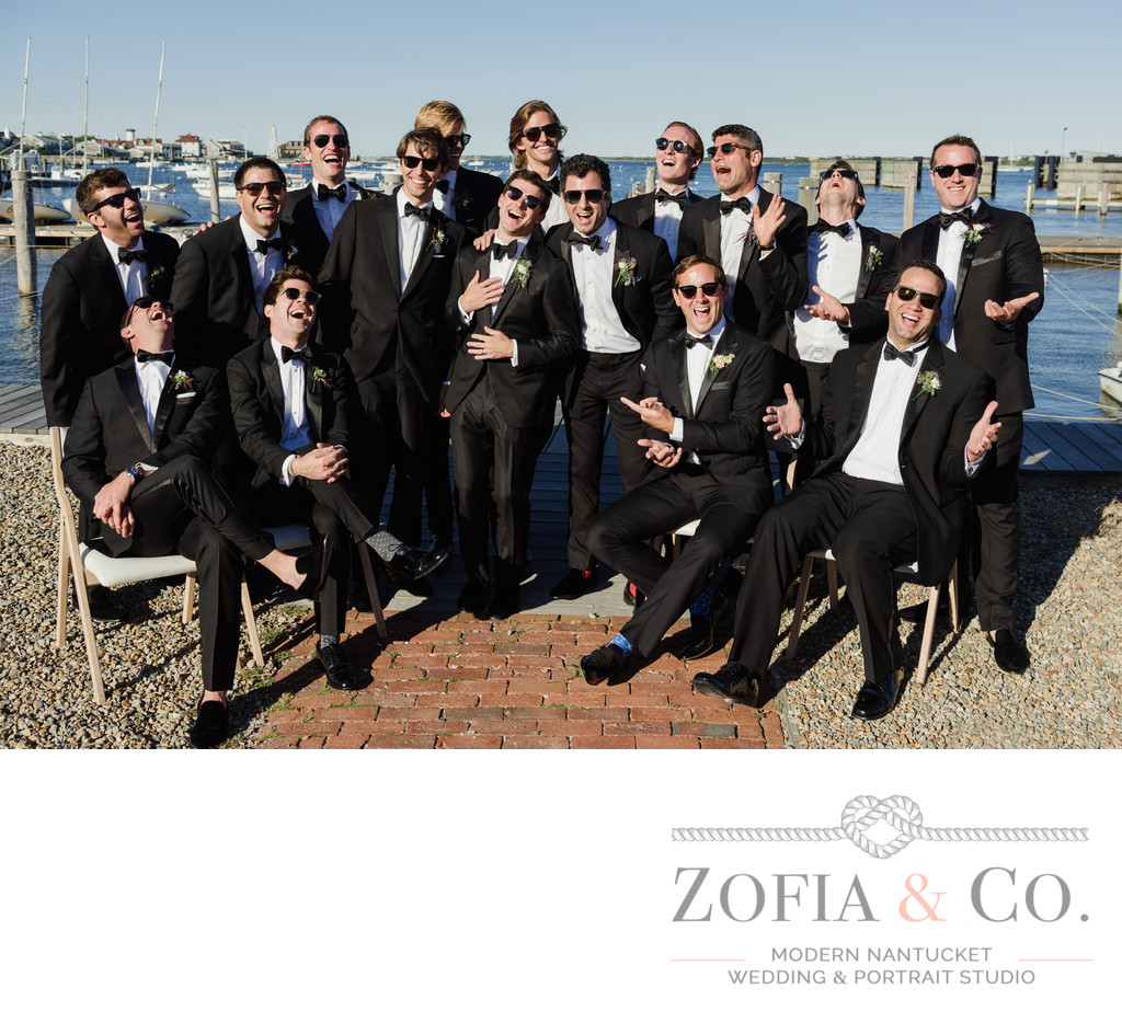 black tie nantucket groomsmen sunglasses yacht club