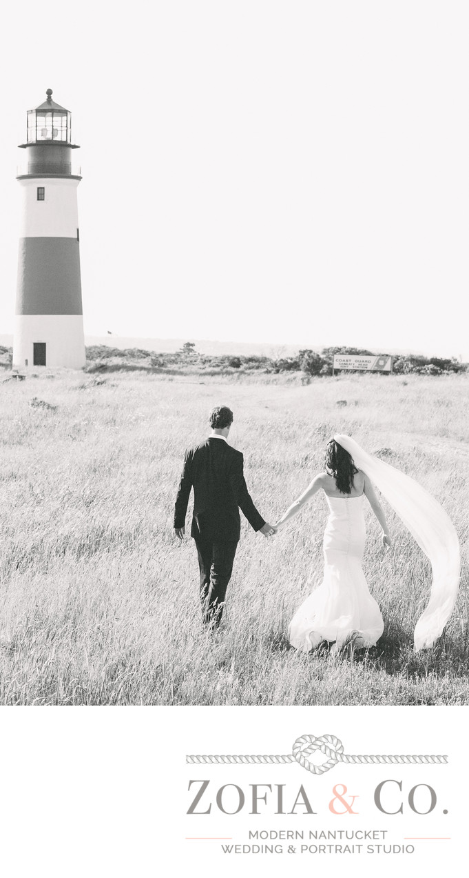 Sankaty Lighthouse Wedding Portrait in black and white