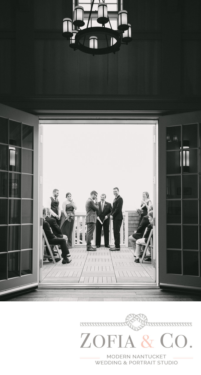 Grooms at Dreamland Theater Wedding Ceremony on terrace