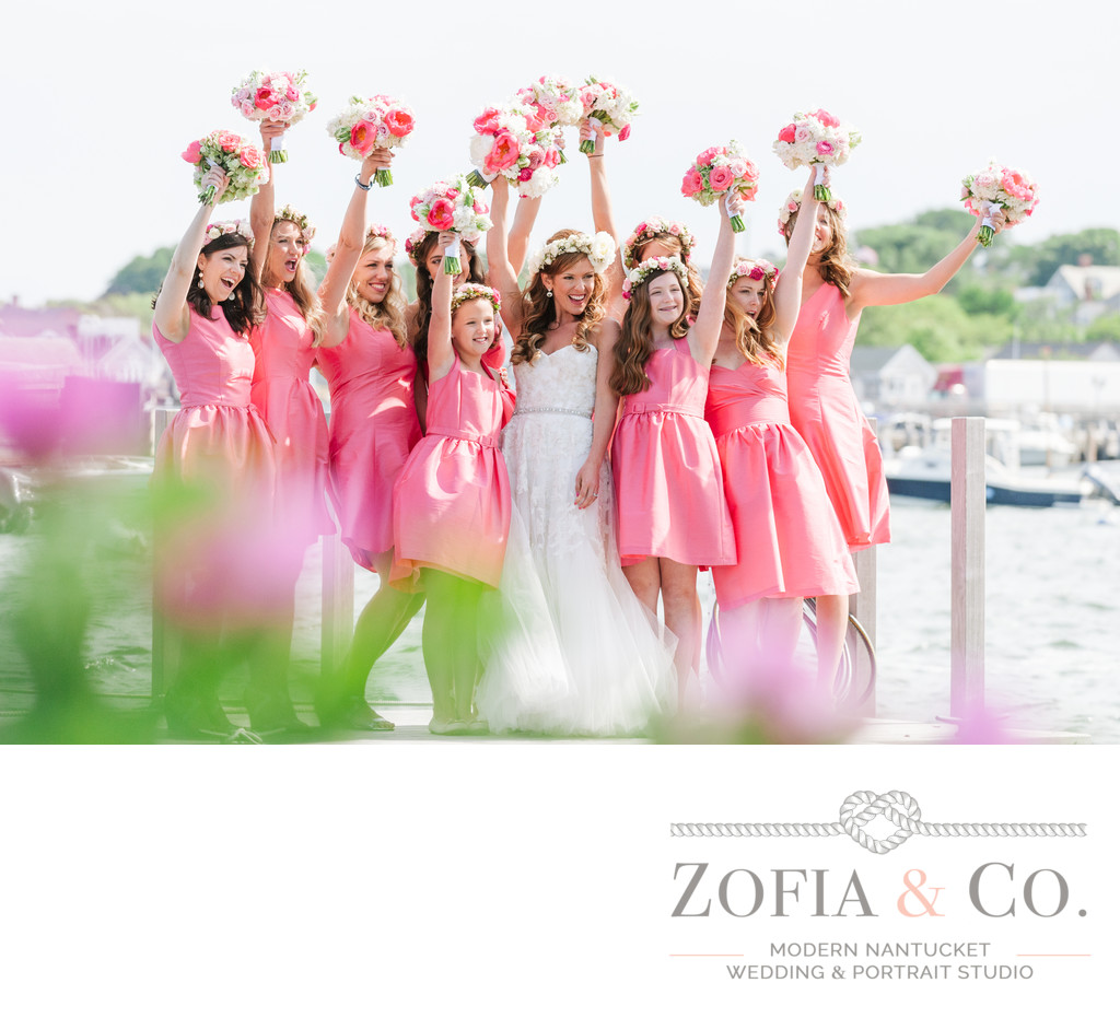 pink bridesmaids with soiree floral flo