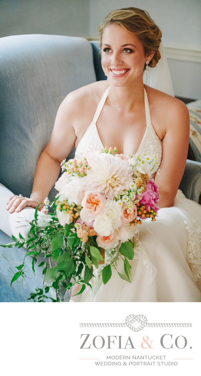 Smiling Nantucket bride with Soiree Floral bouquet