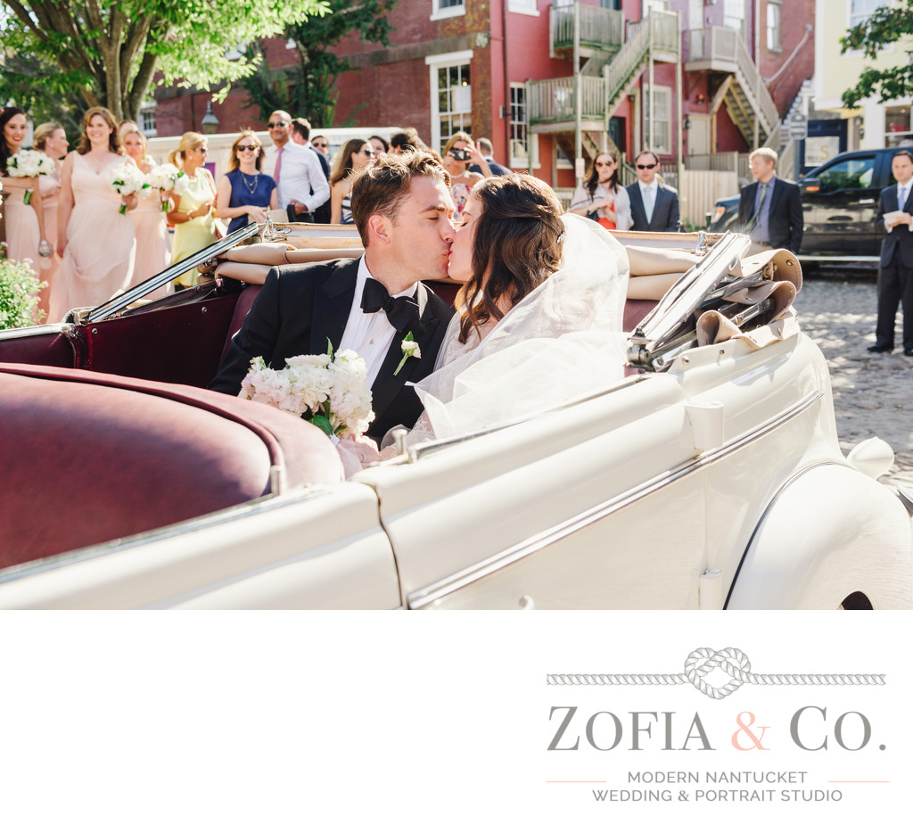 just married vintage car st marys nantucket wedding