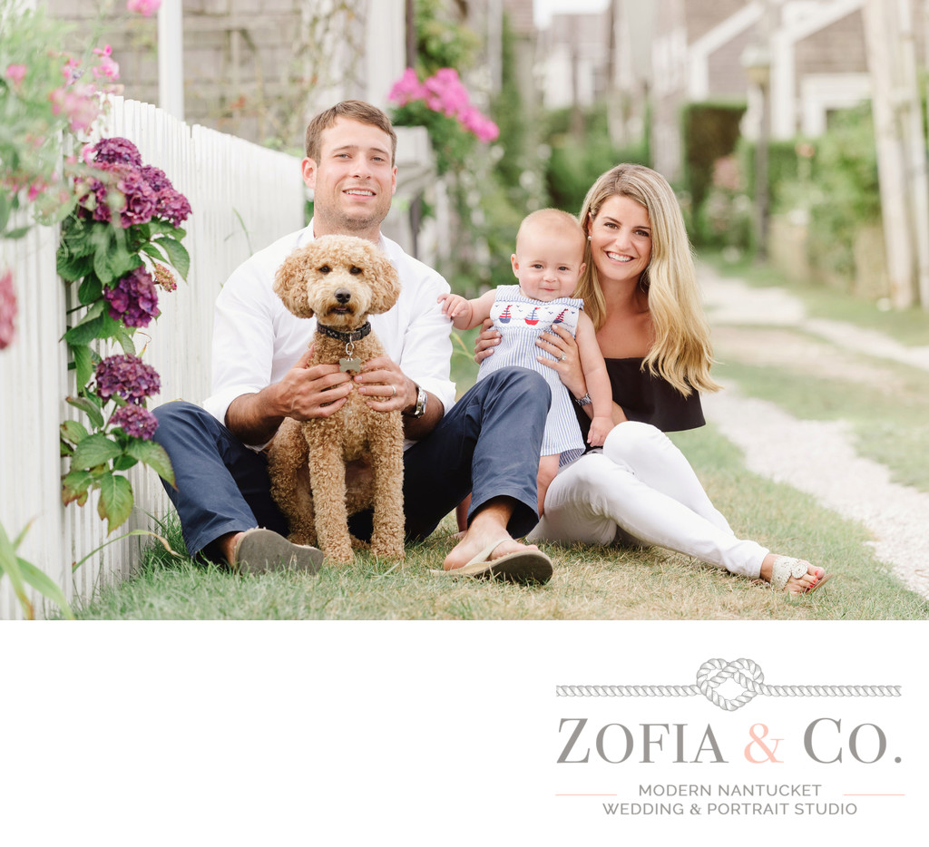 labradoodle and family in sconset