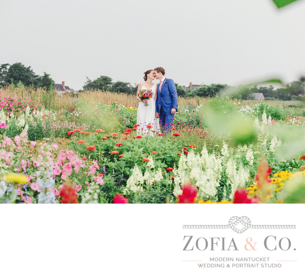 rainy nantucket wedding at moors end farm flower field