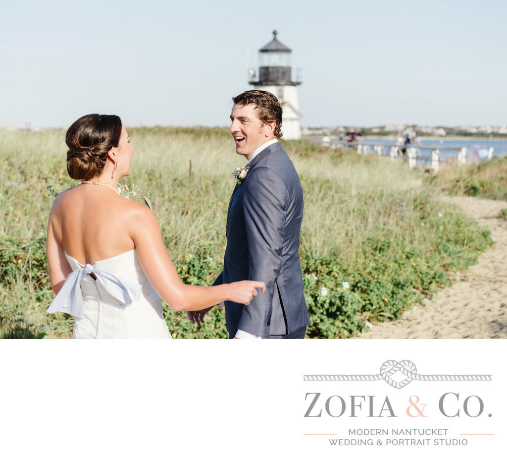 first look at brant point for bride and groom